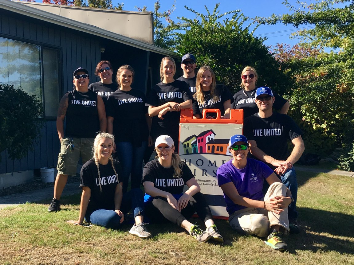 Group photo of Heritage Bank employees at the United Way Day of Caring in Thurston County