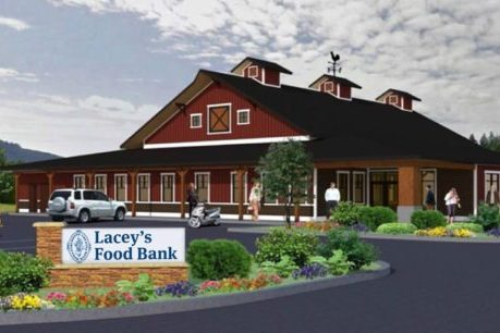 A rendering of the new food bank building in Lacey, WA